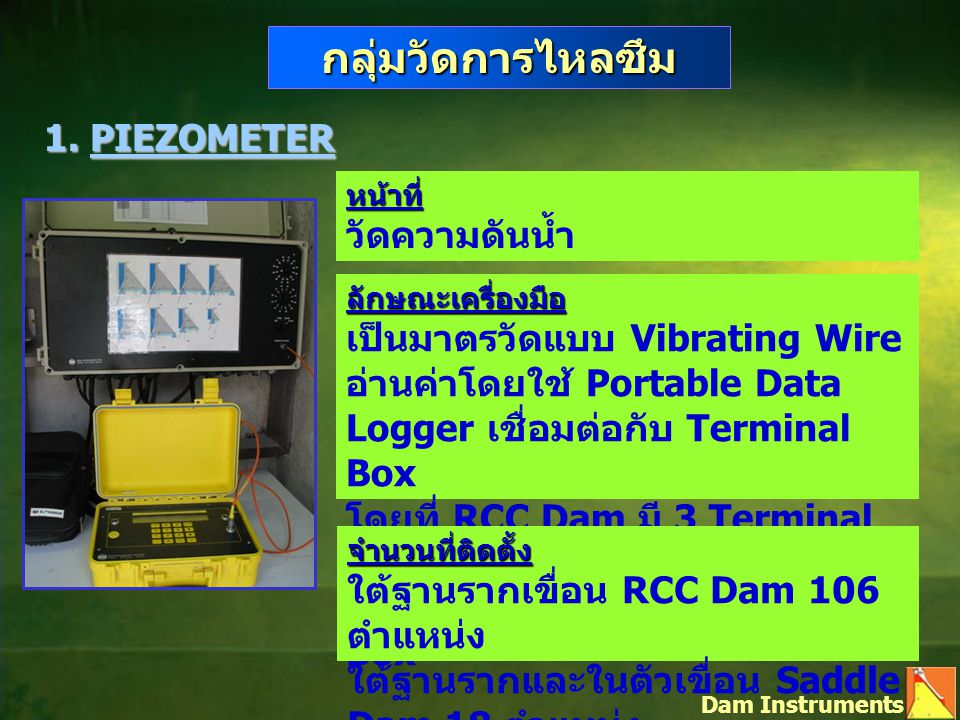 กลุ่มวัดการไหลซึม 1. PIEZOMETER Dam Instruments หน้าที่ วัดความดันน้ำ ลักษณะเครื่องมือ เป็นมาตรวัดแบบ Vibrating Wire อ่านค่าโดยใช้ Portable Data Logge