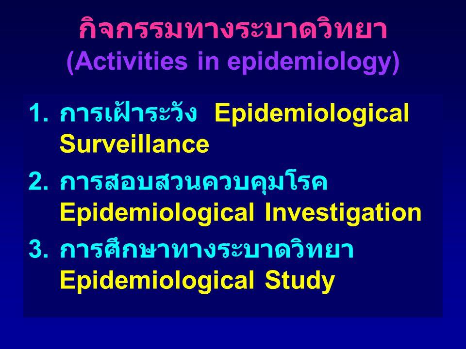 กิจกรรมทางระบาดวิทยา (Activities in epidemiology) 1. การเฝ้าระวัง Epidemiological Surveillance 2. การสอบสวนควบคุมโรค Epidemiological Investigation 3.