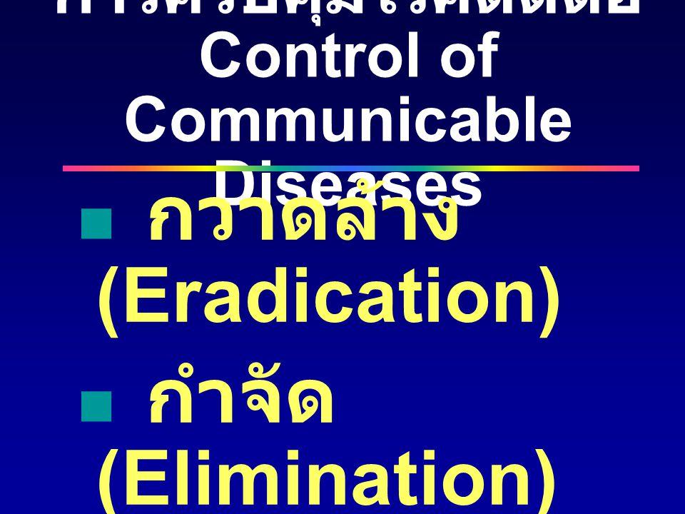 การควบคุมโรคติดต่อ Control of Communicable Diseases  กวาดล้าง (Eradication)  กำจัด (Elimination)  ควบคุม (Control)