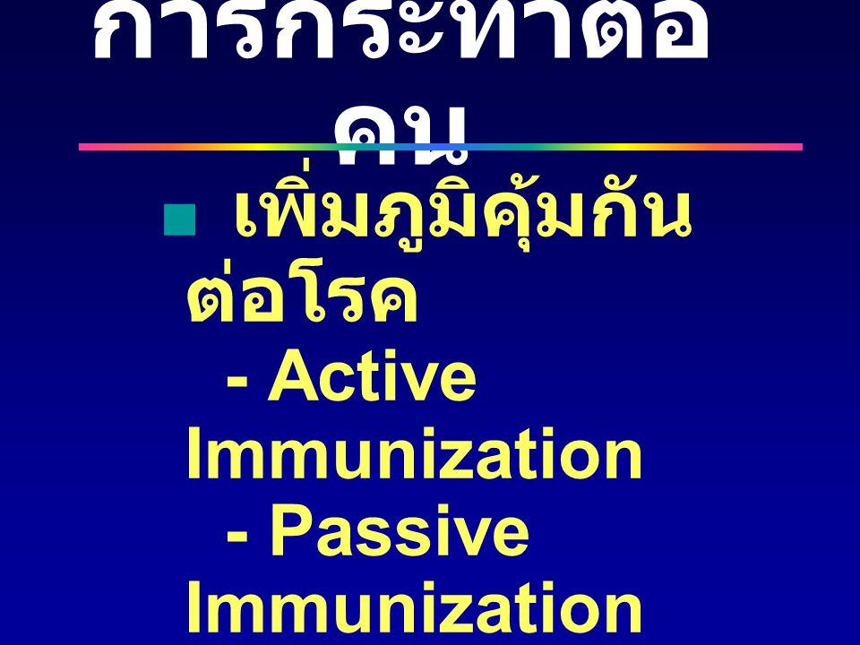 การกระทำต่อ คน  เพิ่มภูมิคุ้มกัน ต่อโรค - Active Immunization - Passive Immunization  ปรับเปลี่ยน พฤติกรรม  สุขศึกษา