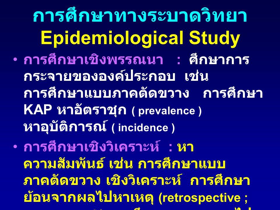 การศึกษาทางระบาดวิทยา Epidemiological Study การศึกษาเชิงพรรณนา : ศึกษาการ กระจายขององค์ประกอบ เช่น การศึกษาแบบภาคตัดขวาง การศึกษา KAP หาอัตราชุก ( pre