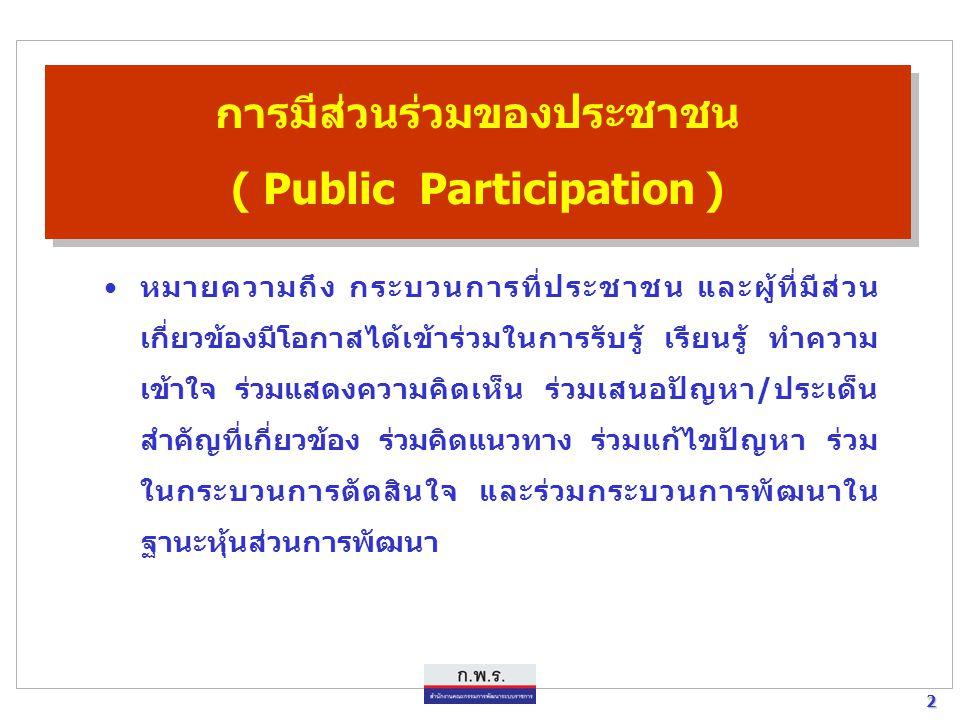 2 2 การมีส่วนร่วมของประชาชน ( Public Participation ) หมายความถึง กระบวนการที่ประชาชน และผู้ที่มีส่วน เกี่ยวข้องมีโอกาสได้เข้าร่วมในการรับรู้ เรียนรู้