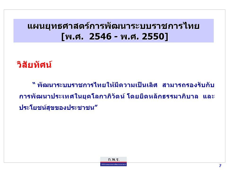 """7 7 แผนยุทธศาสตร์การพัฒนาระบบราชการไทย [พ.ศ. 2546 - พ.ศ. 2550] [พ.ศ. 2546 - พ.ศ. 2550] วิสัยทัศน์ """" พัฒนาระบบราชการไทยให้มีความเป็นเลิศ สามารถรองรับกั"""