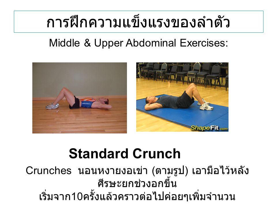 การฝึกความแข็งแรงของลำตัว Standard Crunch Middle & Upper Abdominal Exercises: Crunches นอนหงายงอเข่า ( ตามรูป ) เอามือไว้หลัง ศีรษะยกช่วงอกขึ้น เริ่มจ