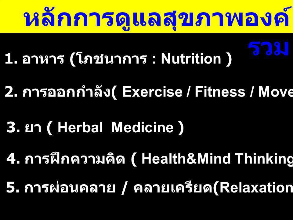 หลักการดูแลสุขภาพองค์ รวม 1. อาหาร ( โภชนาการ : Nutrition ) 2. การออกกำลัง ( Exercise / Fitness / Movement ) 3. ยา ( Herbal Medicine ) 4. การฝึกความคิ