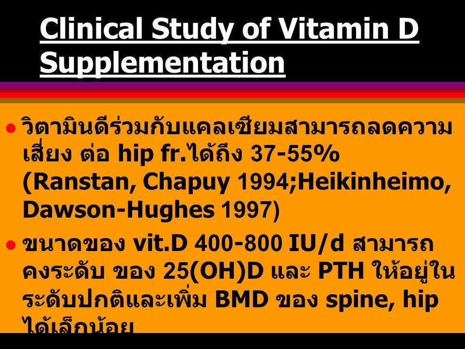 Clinical Study of Vitamin D Supplementation วิตามินดีร่วมกับแคลเซียมสามารถลดความ เสี่ยง ต่อ hip fr. ได้ถึง 37-55% (Ranstan, Chapuy 1994;Heikinheimo, D
