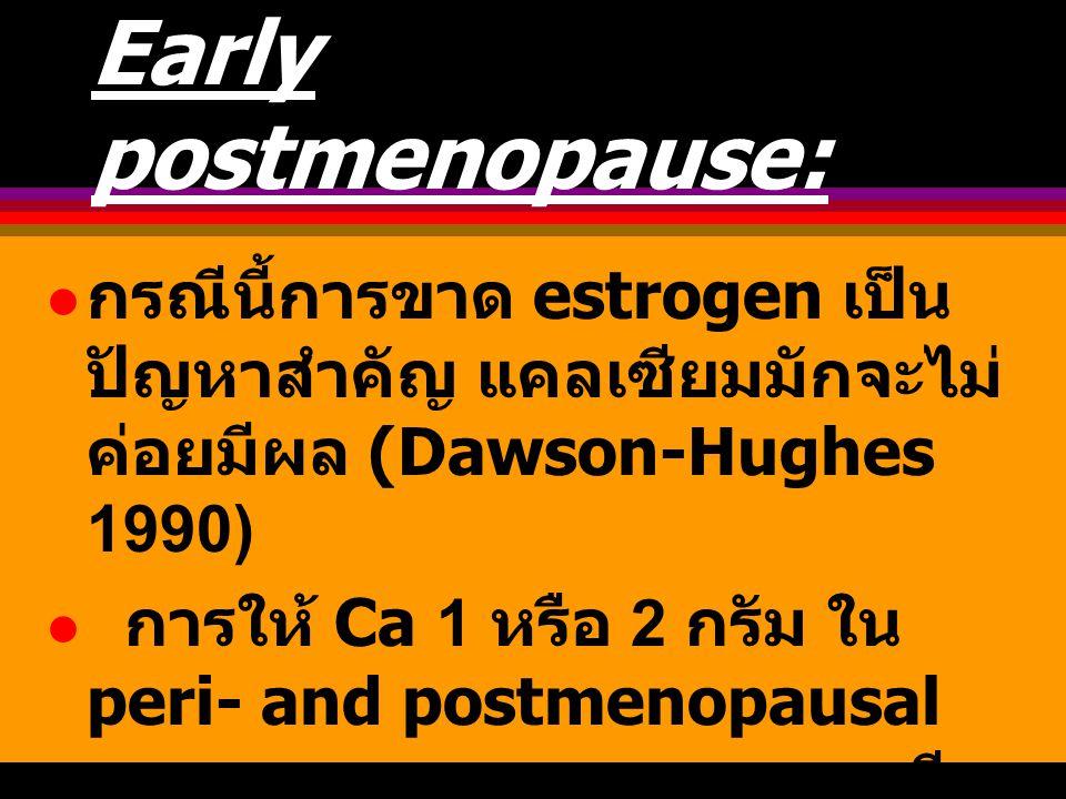 Early postmenopause: กรณีนี้การขาด estrogen เป็น ปัญหาสำคัญ แคลเซียมมักจะไม่ ค่อยมีผล (Dawson-Hughes 1990) การให้ Ca 1 หรือ 2 กรัม ใน peri- and postme