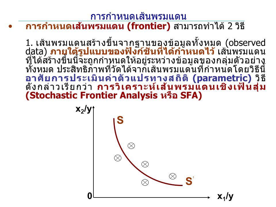 การกำหนดเส้นพรมแดน การกำหนดเส้นพรมแดน (frontier) สามารถทำได้ 2 วิธี 1.เส้นพรมแดนสร้างขึ้นจากฐานของข้อมูลทั้งหมด (observed data) ภายใต้รูปแบบของฟังก์ชันที่ได้กำหนดไว้ เส้นพรมแดน ที่ได้สร้างขึ้นนี้จะถูกกำหนดให้อยู่ระหว่างข้อมูลของกลุ่มตัวอย่าง ทั้งหมด ประสิทธิภาพที่วัดได้จากเส้นพรมแดนที่กำหนดโดยวิธีนี้ อาศัยการประเมินค่าตัวแปรทางสถิติ (parametric) วิธี ดังกล่าวเรียกว่า การวิเคราะห์เส้นพรมแดนเชิงเฟ้นสุ่ม (Stochastic Frontier Analysis หรือ SFA) x 2 /y x 1 /y S S'S' 0