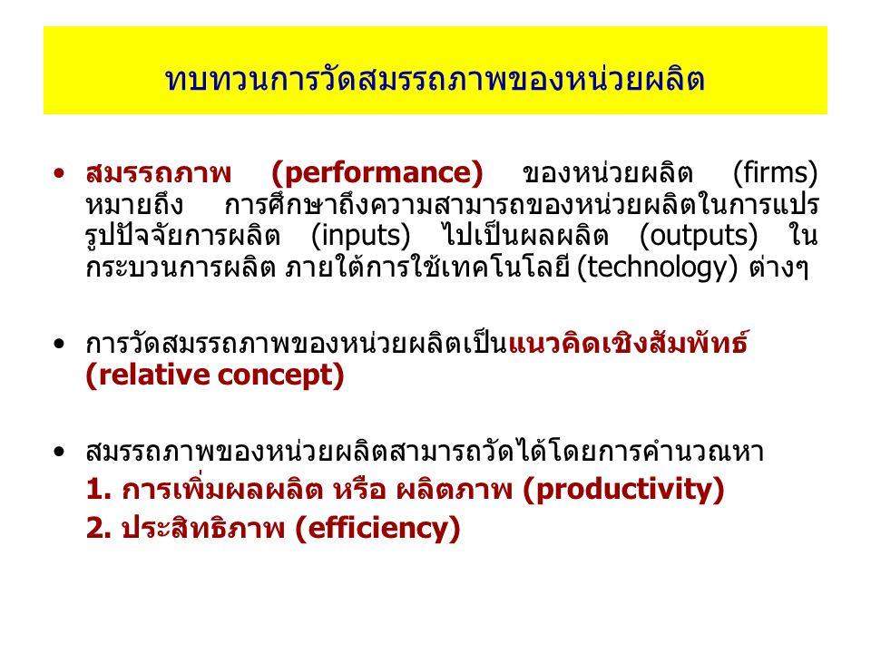 ทบทวนการวัดสมรรถภาพของหน่วยผลิต สมรรถภาพ (performance) ของหน่วยผลิต (firms) หมายถึง การศึกษาถึงความสามารถของหน่วยผลิตในการแปร รูปปัจจัยการผลิต (inputs) ไปเป็นผลผลิต (outputs) ใน กระบวนการผลิต ภายใต้การใช้เทคโนโลยี (technology) ต่างๆ การวัดสมรรถภาพของหน่วยผลิตเป็นแนวคิดเชิงสัมพัทธ์ (relative concept) สมรรถภาพของหน่วยผลิตสามารถวัดได้โดยการคำนวณหา 1.