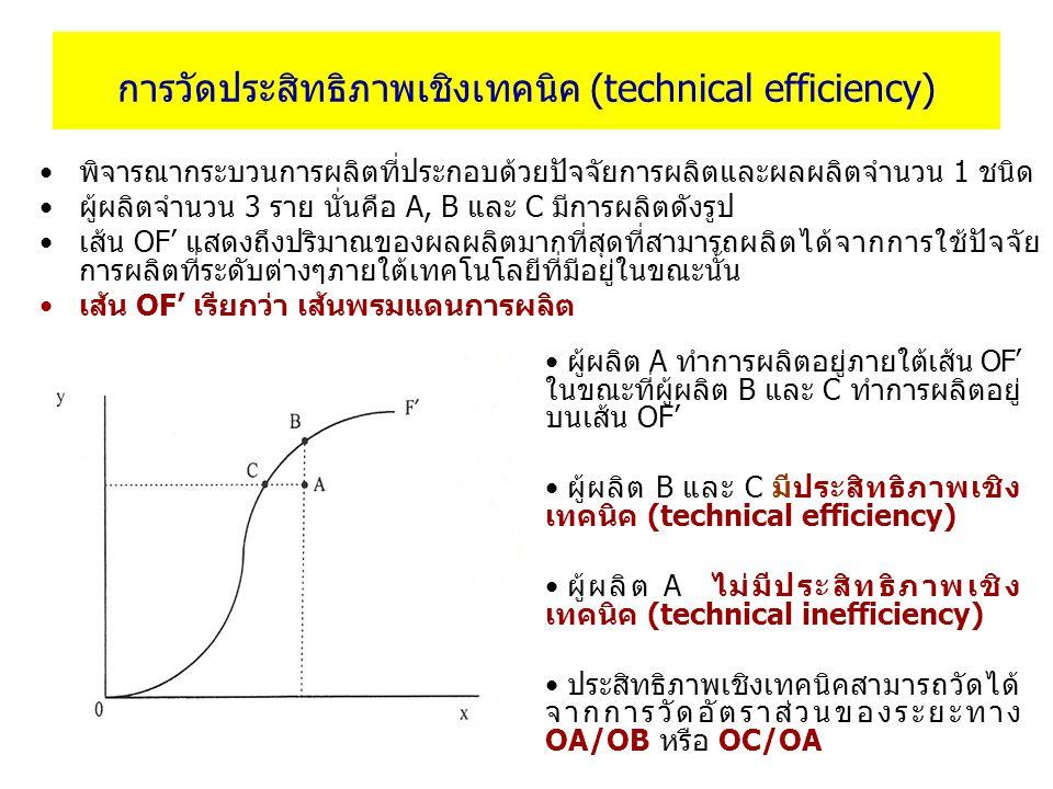 การวัดประสิทธิภาพเชิงเทคนิค (technical efficiency) พิจารณากระบวนการผลิตที่ประกอบด้วยปัจจัยการผลิตและผลผลิตจำนวน 1 ชนิด ผู้ผลิตจำนวน 3 ราย นั่นคือ A, B และ C มีการผลิตดังรูป เส้น OF' แสดงถึงปริมาณของผลผลิตมากที่สุดที่สามารถผลิตได้จากการใช้ปัจจัย การผลิตที่ระดับต่างๆภายใต้เทคโนโลยีที่มีอยู่ในขณะนั้น เส้น OF' เรียกว่า เส้นพรมแดนการผลิต ผู้ผลิต A ทำการผลิตอยู่ภายใต้เส้น OF' ในขณะที่ผู้ผลิต B และ C ทำการผลิตอยู่ บนเส้น OF' ผู้ผลิต B และ C มีประสิทธิภาพเชิง เทคนิค (technical efficiency) ผู้ผลิต A ไม่มีประสิทธิภาพเชิง เทคนิค (technical inefficiency) ประสิทธิภาพเชิงเทคนิคสามารถวัดได้ จากการวัดอัตราส่วนของระยะทาง OA/OB หรือ OC/OA