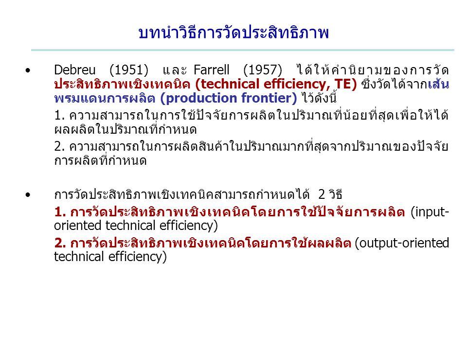 บทนำวิธีการวัดประสิทธิภาพ Debreu (1951) และ Farrell (1957) ได้ให้คำนิยามของการวัด ประสิทธิภาพเชิงเทคนิค (technical efficiency, TE) ซึ่งวัดได้จากเส้น พ