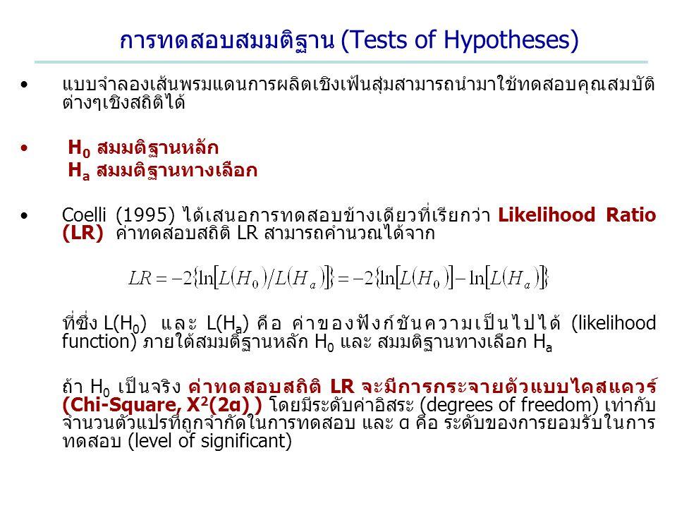 การทดสอบสมมติฐาน (Tests of Hypotheses) แบบจำลองเส้นพรมแดนการผลิตเชิงเฟ้นสุ่มสามารถนำมาใช้ทดสอบคุณสมบัติ ต่างๆเชิงสถิติได้ H 0 สมมติฐานหลัก H a สมมติฐา