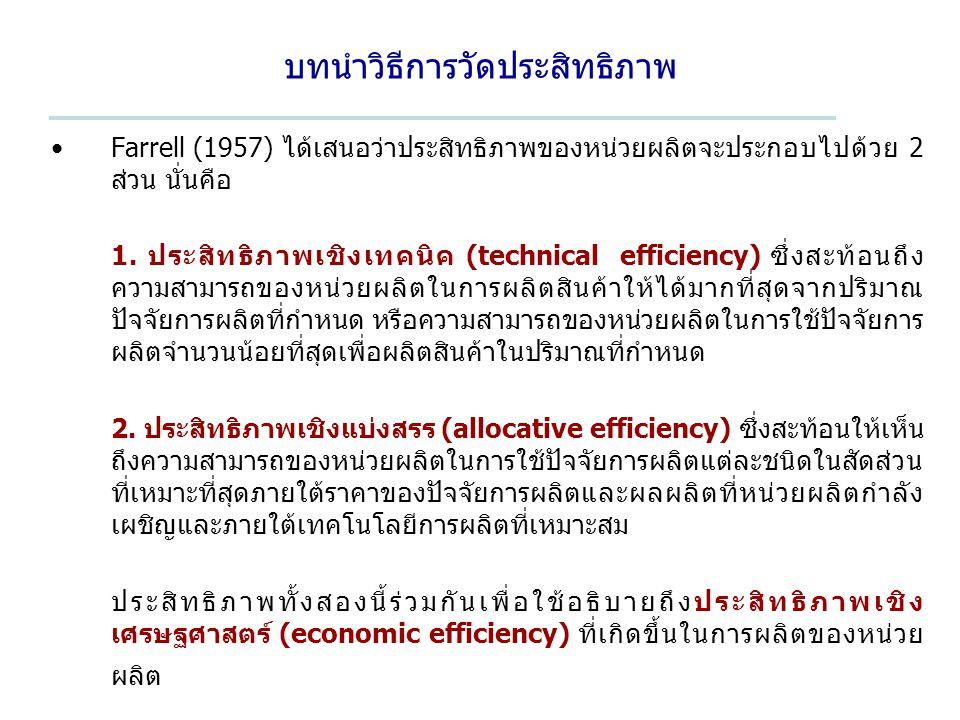 บทนำวิธีการวัดประสิทธิภาพ Farrell (1957) ได้เสนอว่าประสิทธิภาพของหน่วยผลิตจะประกอบไปด้วย 2 ส่วน นั่นคือ 1. ประสิทธิภาพเชิงเทคนิค (technical efficiency