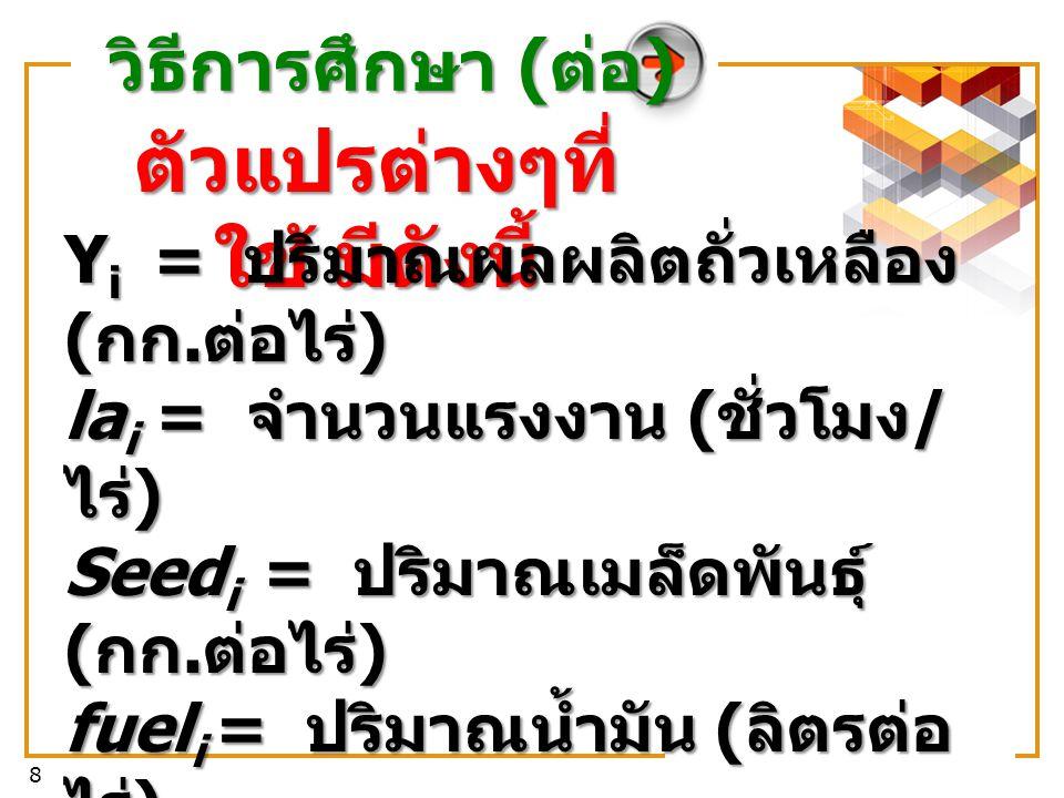 8 ตัวแปรต่างๆที่ ใช้ มีดังนี้ Y i = ปริมาณผลผลิตถั่วเหลือง ( กก.