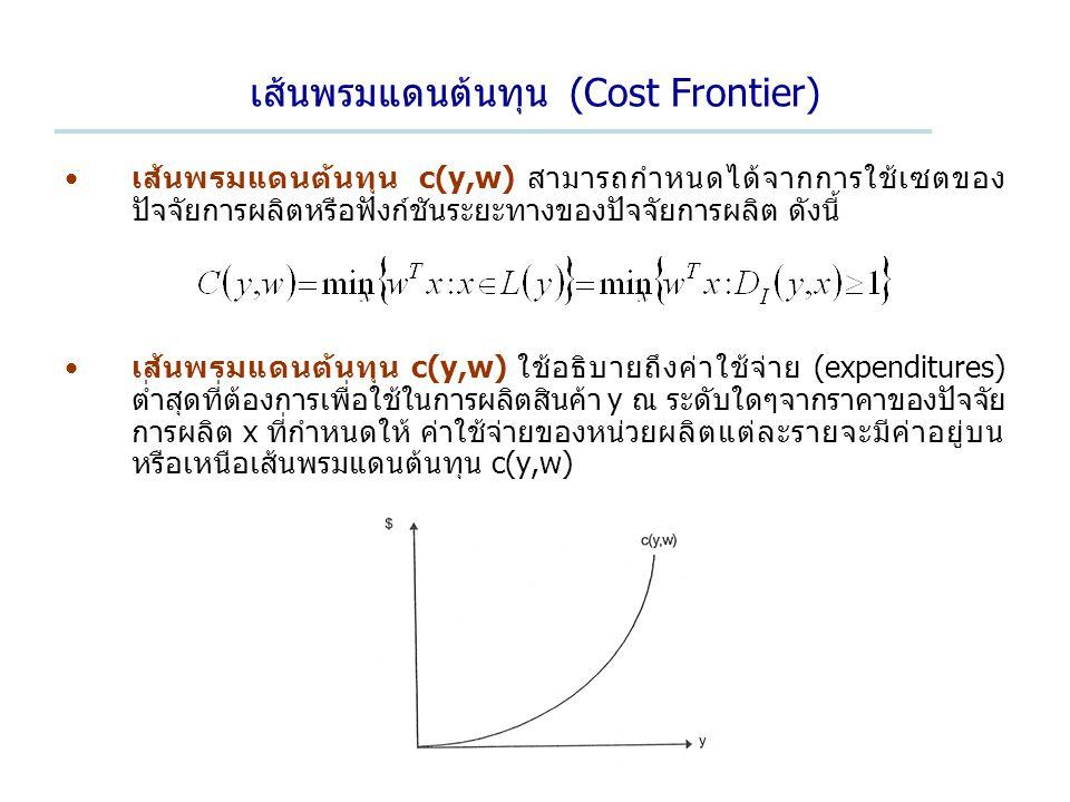 เส้นพรมแดนต้นทุน (Cost Frontier) เส้นพรมแดนต้นทุน c(y,w) สามารถกำหนดได้จากการใช้เซตของ ปัจจัยการผลิตหรือฟังก์ชันระยะทางของปัจจัยการผลิต ดังนี้ เส้นพรมแดนต้นทุน c(y,w) ใช้อธิบายถึงค่าใช้จ่าย (expenditures) ต่ำสุดที่ต้องการเพื่อใช้ในการผลิตสินค้า y ณ ระดับใดๆจากราคาของปัจจัย การผลิต x ที่กำหนดให้ ค่าใช้จ่ายของหน่วยผลิตแต่ละรายจะมีค่าอยู่บน หรือเหนือเส้นพรมแดนต้นทุน c(y,w)
