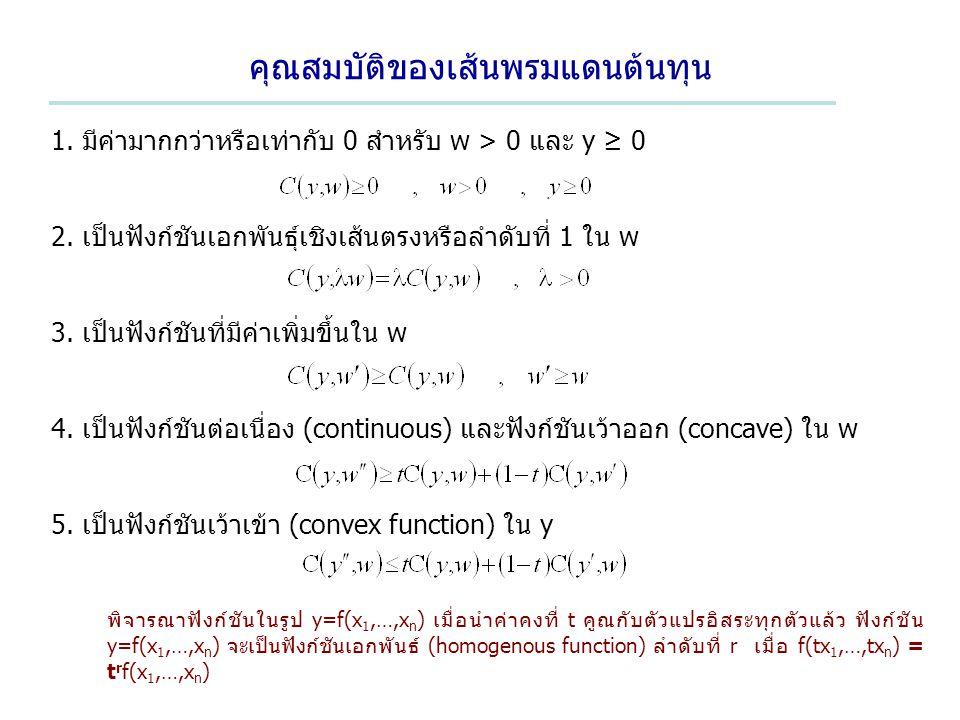 คุณสมบัติของเส้นพรมแดนต้นทุน 1. มีค่ามากกว่าหรือเท่ากับ 0 สำหรับ w > 0 และ y ≥ 0 2. เป็นฟังก์ชันเอกพันธุ์เชิงเส้นตรงหรือลำดับที่ 1 ใน w 3. เป็นฟังก์ชั