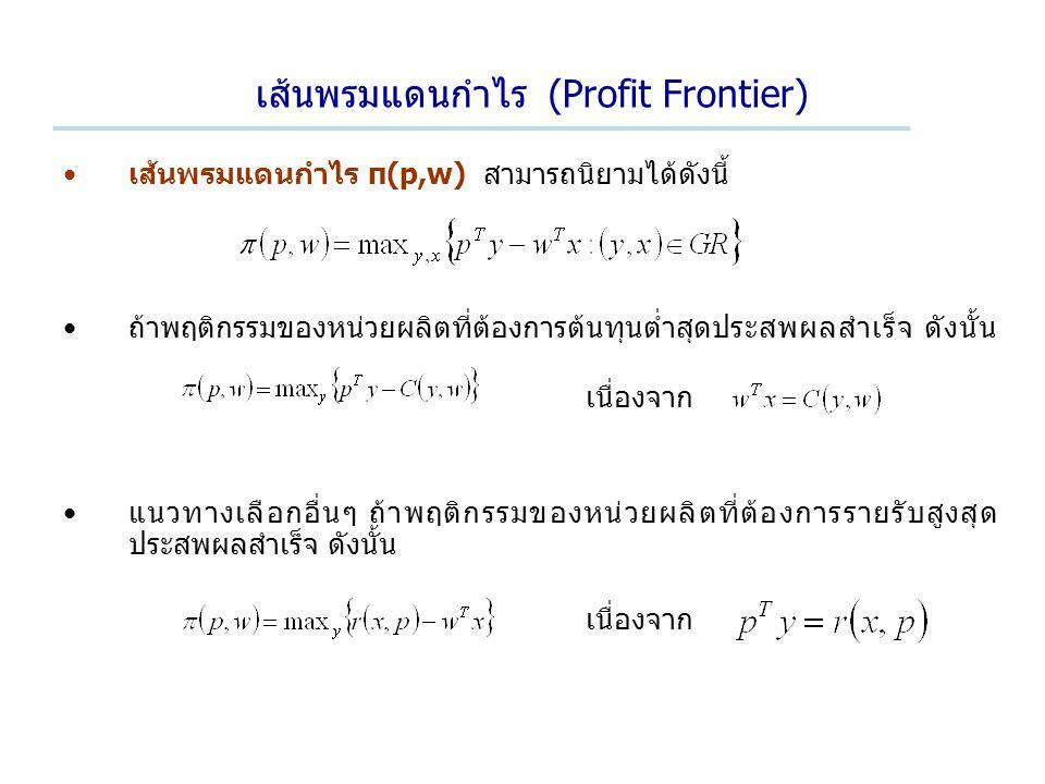 เส้นพรมแดนกำไร (Profit Frontier) เส้นพรมแดนกำไร π(p,w) สามารถนิยามได้ดังนี้ ถ้าพฤติกรรมของหน่วยผลิตที่ต้องการต้นทุนต่ำสุดประสพผลสำเร็จ ดังนั้น เนื่องจาก แนวทางเลือกอื่นๆ ถ้าพฤติกรรมของหน่วยผลิตที่ต้องการรายรับสูงสุด ประสพผลสำเร็จ ดังนั้น เนื่องจาก