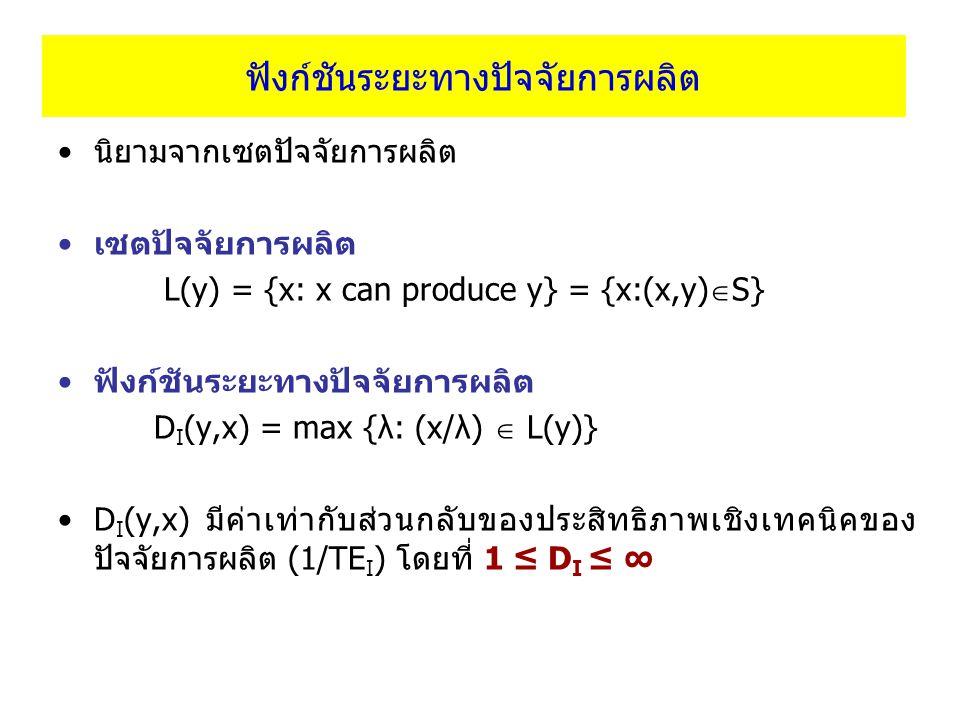 ฟังก์ชันระยะทางปัจจัยการผลิต นิยามจากเซตปัจจัยการผลิต เซตปัจจัยการผลิต L(y) = {x: x can produce y} = {x:(x,y)  S} ฟังก์ชันระยะทางปัจจัยการผลิต D I (y