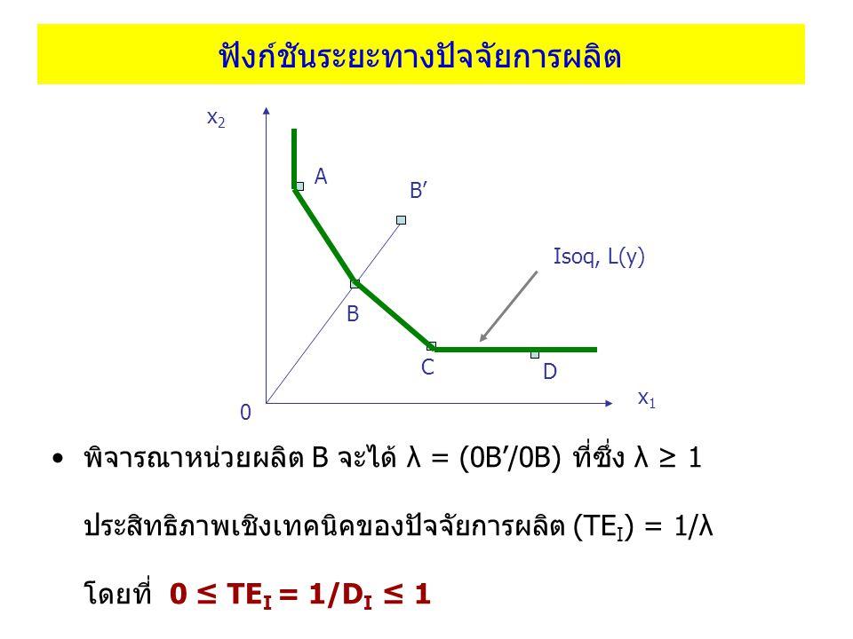 ฟังก์ชันระยะทางปัจจัยการผลิต พิจารณาหน่วยผลิต B จะได้ λ = (0B'/0B) ที่ซึ่ง λ ≥ 1 ประสิทธิภาพเชิงเทคนิคของปัจจัยการผลิต (TE I ) = 1/λ โดยที่ 0 ≤ TE I =