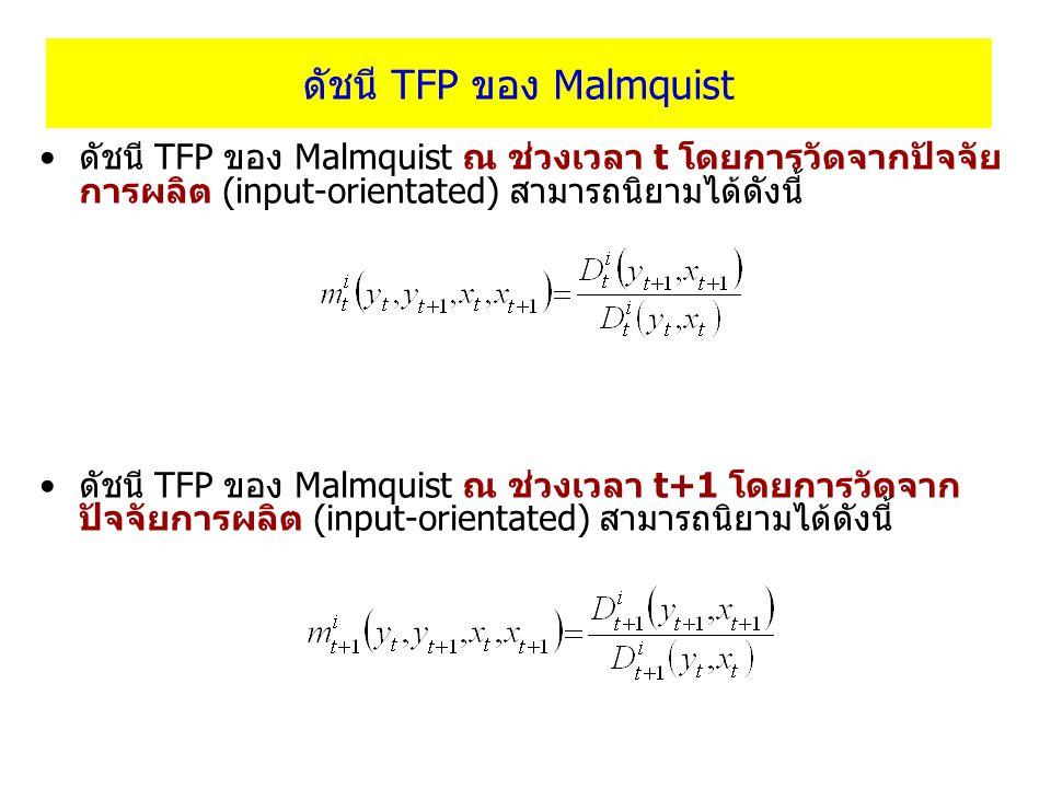 ดัชนี TFP ของ Malmquist ดัชนี TFP ของ Malmquist ณ ช่วงเวลา t โดยการวัดจากปัจจัย การผลิต (input-orientated) สามารถนิยามได้ดังนี้ ดัชนี TFP ของ Malmquis