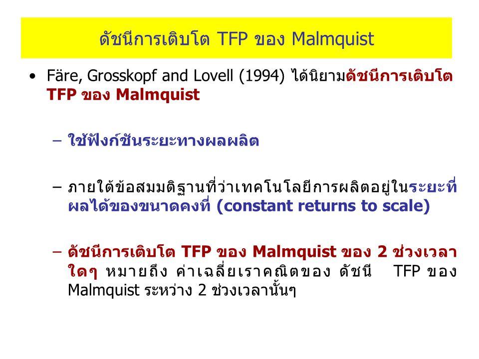 ดัชนีการเติบโต TFP ของ Malmquist Färe, Grosskopf and Lovell (1994) ได้นิยามดัชนีการเติบโต TFP ของ Malmquist –ใช้ฟังก์ชันระยะทางผลผลิต –ภายใต้ข้อสมมติฐ