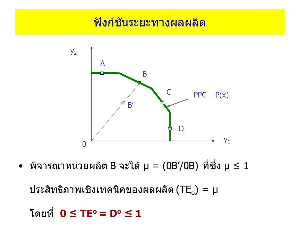 ฟังก์ชันระยะทางผลผลิต พิจารณาหน่วยผลิต B จะได้ μ = (0B'/0B) ที่ซึ่ง μ ≤ 1 ประสิทธิภาพเชิงเทคนิคของผลผลิต (TE o ) = μ โดยที่ 0 ≤ TE o = D o ≤ 1 y1y1 y2