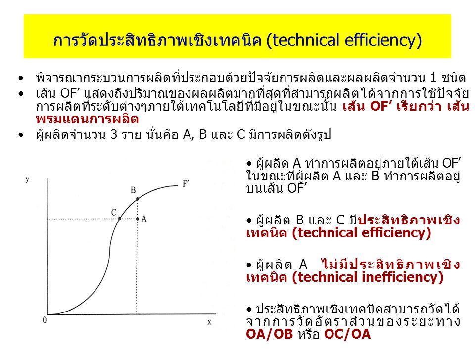 การวัดประสิทธิภาพเชิงเทคนิค (technical efficiency) พิจารณากระบวนการผลิตที่ประกอบด้วยปัจจัยการผลิตและผลผลิตจำนวน 1 ชนิด เส้น OF' แสดงถึงปริมาณของผลผลิต
