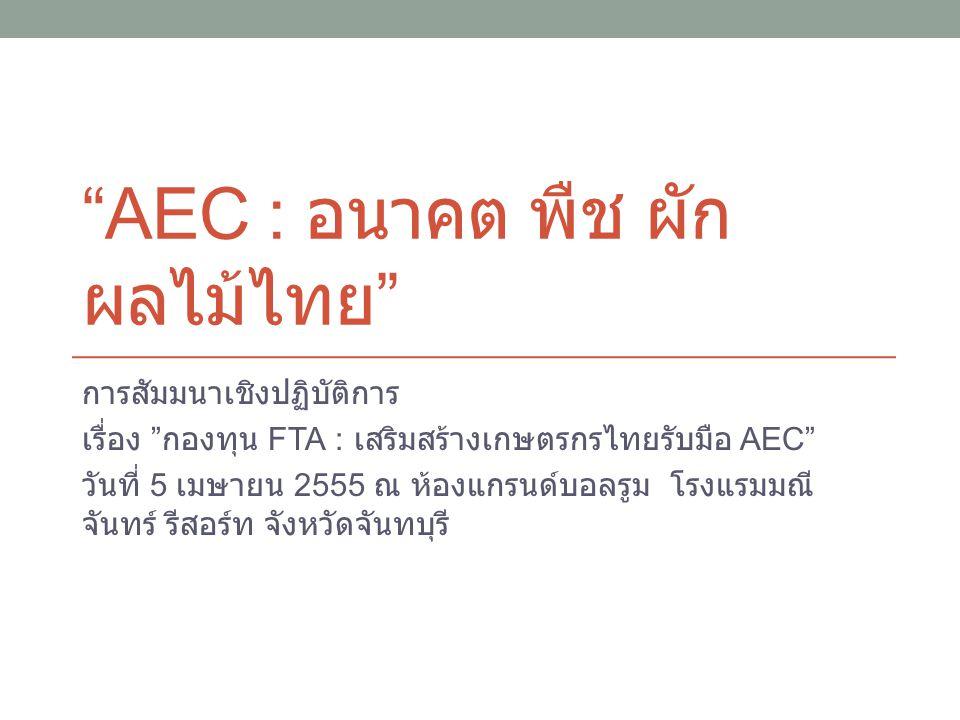 """""""AEC : อนาคต พืช ผัก ผลไม้ไทย """" การสัมมนาเชิงปฏิบัติการ เรื่อง """" กองทุน FTA : เสริมสร้างเกษตรกรไทยรับมือ AEC"""" วันที่ 5 เมษายน 2555 ณ ห้องแกรนด์บอลรูม"""