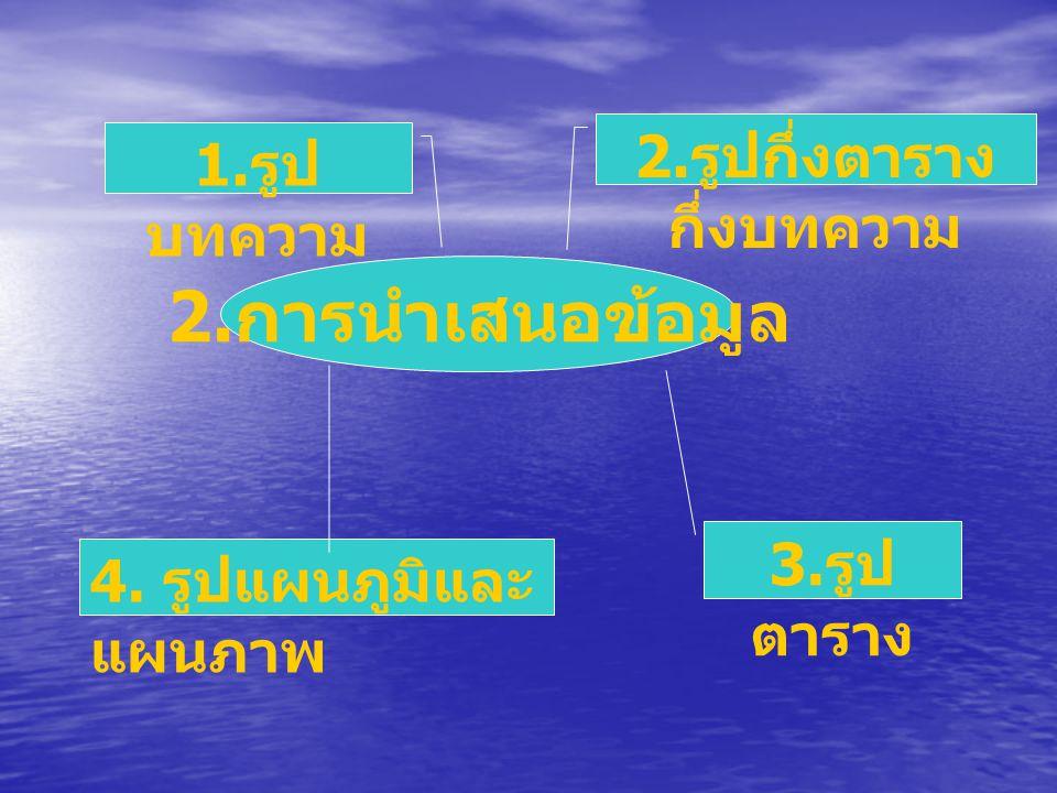 2. การนำเสนอข้อมูล 1. รูป บทความ 2. รูปกึ่งตาราง กึ่งบทความ 4. รูปแผนภูมิและ แผนภาพ 3. รูป ตาราง