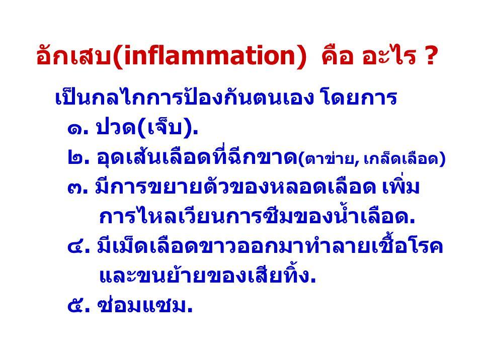 อักเสบ(inflammation) คือ อะไร .เป็นกลไกการป้องกันตนเอง โดยการ ๑.