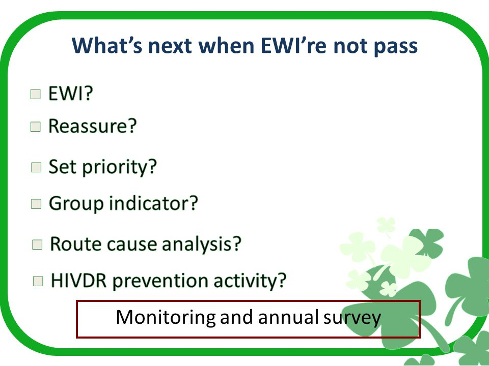 What's next when EWI're not pass Monitoring and annual survey