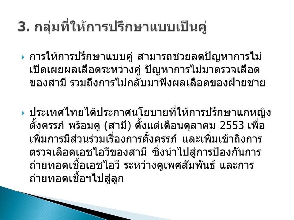  การให้การปรึกษาแบบคู่ สามารถช่วยลดปัญหาการไม่ เปิดเผยผลเลือดระหว่างคู่ ปัญหาการไม่มาตรวจเลือด ของสามี รวมถึงการไม่กลับมาฟังผลเลือดของฝ่ายชาย  ประเทศไทยได้ประกาศนโยบายที่ให้การปรึกษาแก่หญิง ตั้งครรภ์ พร้อมคู่ (สามี) ตั้งแต่เดือนตุลาคม 2553 เพื่อ เพิ่มการมีส่วนร่วมเรื่องการตั้งครรภ์ และเพิ่มเข้าถึงการ ตรวจเลือดเอชไอวีของสามี ซึ่งนำไปสู่การป้องกันการ ถ่ายทอดเชื้อเอชไอวี ระหว่างคู่เพศสัมพันธ์ และการ ถ่ายทอดเชื้อฯไปสู่ลูก