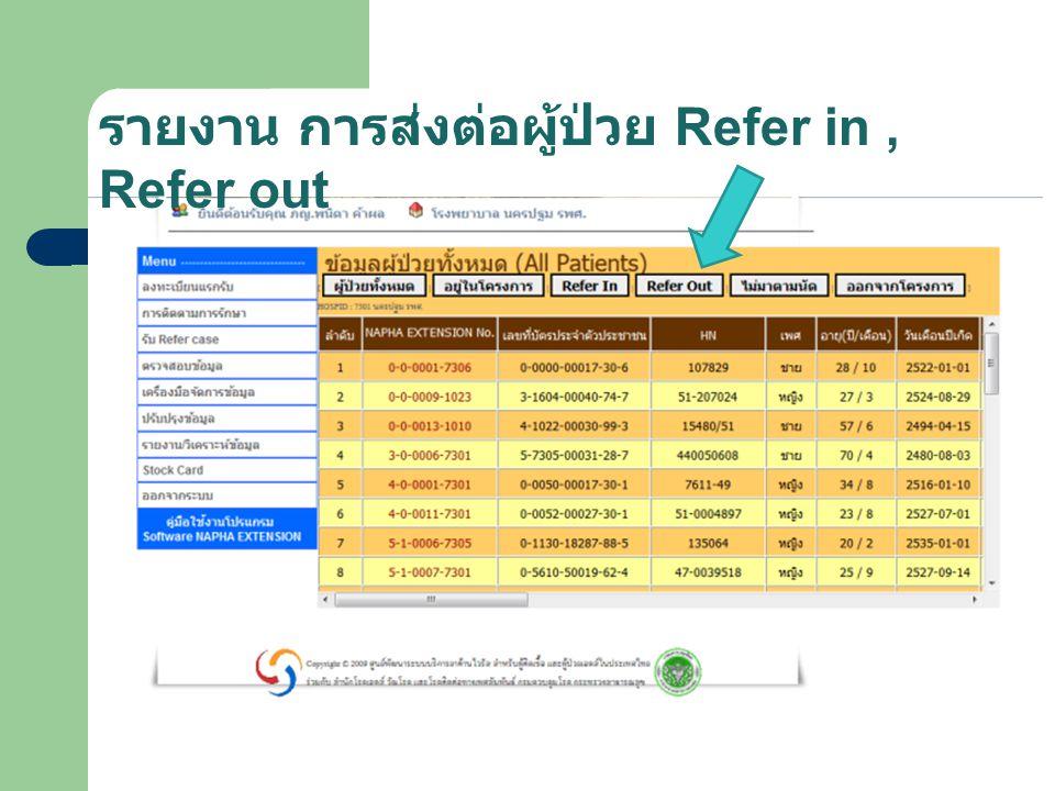 รายงาน การส่งต่อผู้ป่วย Refer in, Refer out