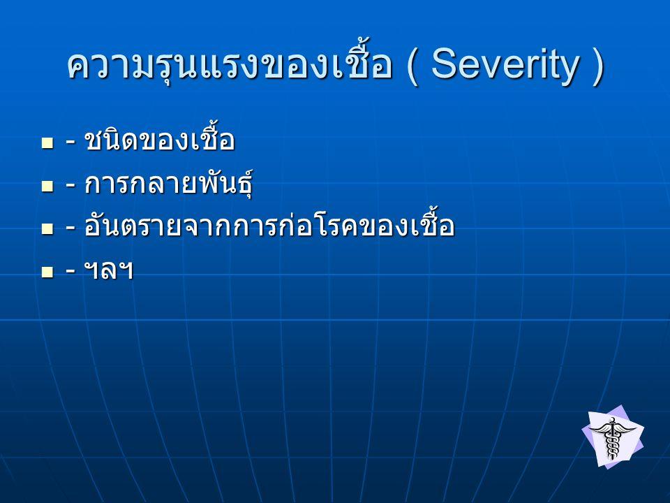 ความรุนแรงของเชื้อ ( Severity ) - ชนิดของเชื้อ - ชนิดของเชื้อ - การกลายพันธุ์ - การกลายพันธุ์ - อันตรายจากการก่อโรคของเชื้อ - อันตรายจากการก่อโรคของเชื้อ - ฯลฯ - ฯลฯ