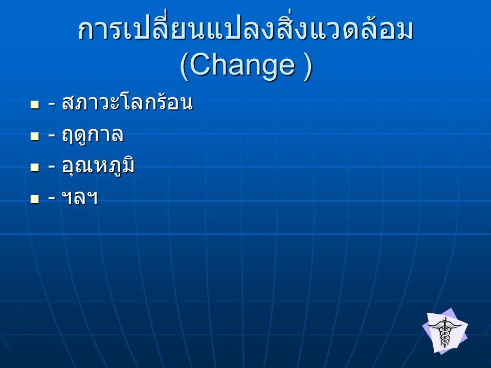การเปลี่ยนแปลงสิ่งแวดล้อม (Change ) - สภาวะโลกร้อน - สภาวะโลกร้อน - ฤดูกาล - ฤดูกาล - อุณหภูมิ - อุณหภูมิ - ฯลฯ - ฯลฯ