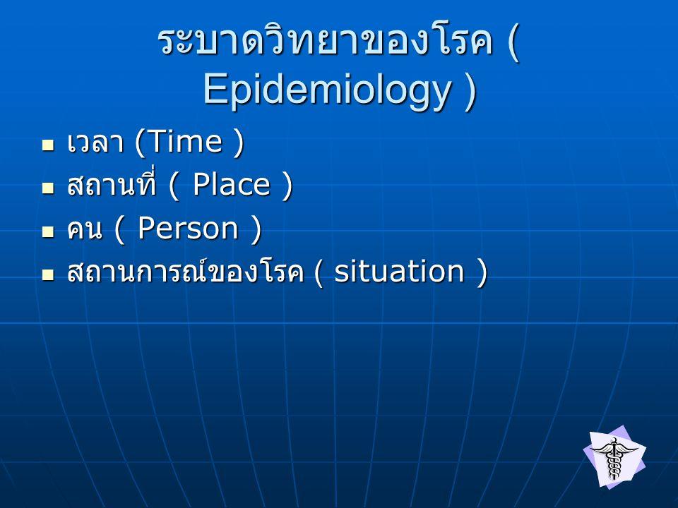 ระบาดวิทยาของโรค ( Epidemiology ) เวลา (Time ) เวลา (Time ) สถานที่ ( Place ) สถานที่ ( Place ) คน ( Person ) คน ( Person ) สถานการณ์ของโรค ( situation ) สถานการณ์ของโรค ( situation )