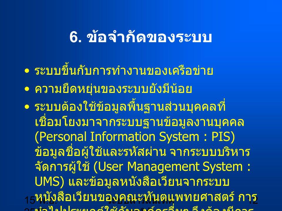 15 พ. ย. 2547 ระบบสารสนเทศ งานวิจัย 12 6. ข้อจำกัดของระบบ ระบบขึ้นกับการทำงานของเครือข่าย ความยืดหยุ่นของระบบยังมีน้อย ระบบต้องใช้ข้อมูลพื้นฐานส่วนบุค