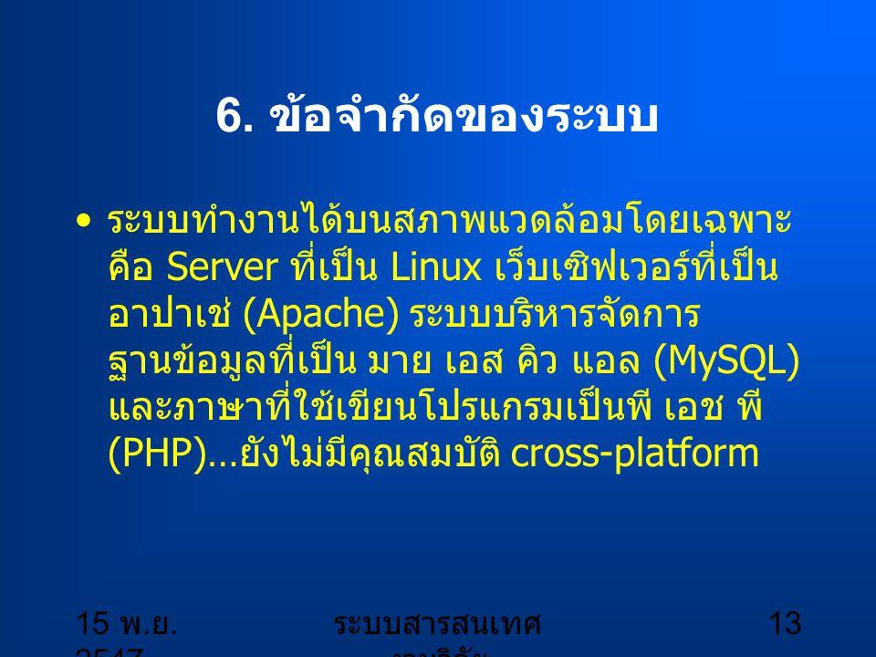 15 พ.ย. 2547 ระบบสารสนเทศ งานวิจัย 14 7.
