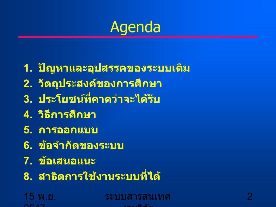 15 พ. ย. 2547 ระบบสารสนเทศ งานวิจัย 2 Agenda 1. ปัญหาและอุปสรรคของระบบเดิม 2. วัตถุประสงค์ของการศึกษา 3. ประโยชน์ที่คาดว่าจะได้รับ 4. วิธีการศึกษา 5.