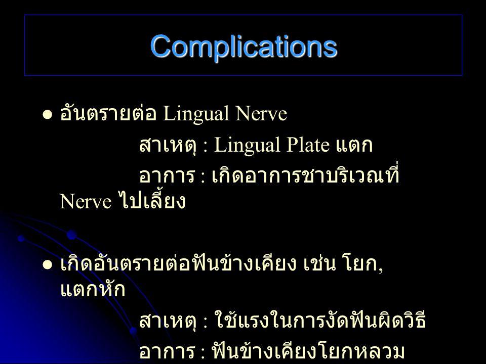 Complications อันตรายต่อ Lingual Nerve สาเหตุ : Lingual Plate แตก อาการ : เกิดอาการชาบริเวณที่ Nerve ไปเลี้ยง เกิดอันตรายต่อฟันข้างเคียง เช่น โยก, แตก