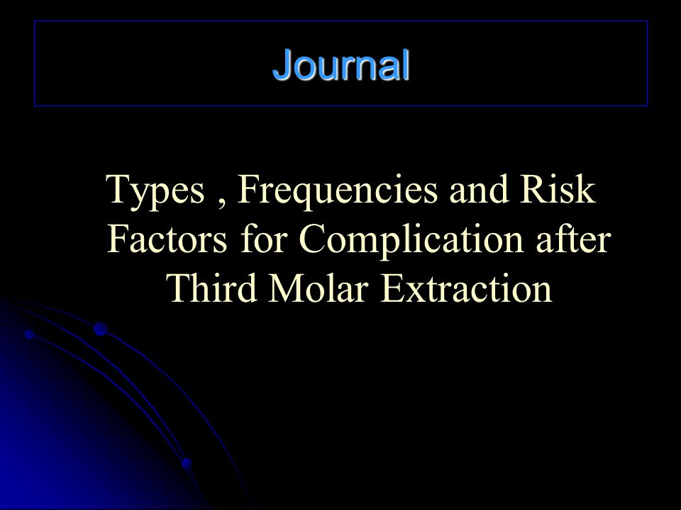 Journal Types, Frequencies and Risk Factors for Complication after Third Molar Extraction