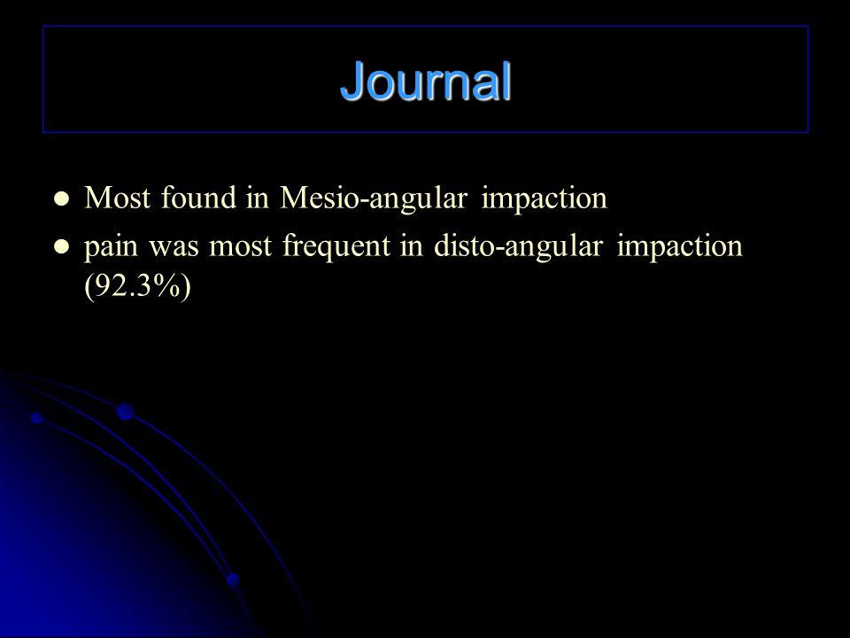 Journal Most found in Mesio-angular impaction pain was most frequent in disto-angular impaction (92.3%)