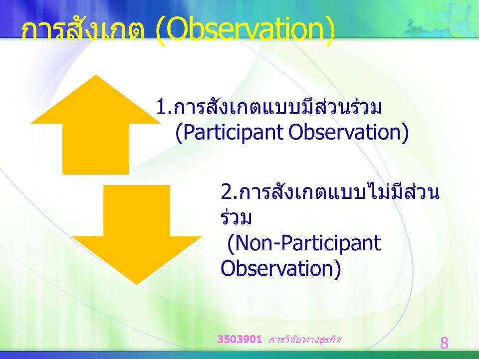 การสังเกต (Observation) 1.การสังเกตแบบมีส่วนร่วม (Participant Observation) 2.