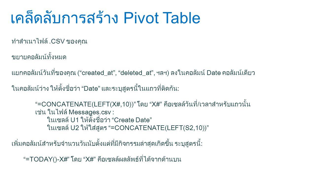 เคล็ดลับการสร้าง Pivot Table ทำสำเนาไฟล์.CSV ของคุณ ขยายคอลัมน์ทั้งหมด แยกคอลัมน์วันที่ของคุณ ( created_at , deleted_at , ฯลฯ) ลงในคอลัมน์ Date คอลัมน์เดียว ในคอลัมน์ว่าง ให้ตั้งชื่อว่า Date และระบุสูตรนี้ในแถวที่ติดกัน: =CONCATENATE(LEFT(X#,10)) โดย X# คือเซลล์วันที่/เวลาสำหรับแถวนั้น เช่น ในไฟล์ Messages.csv : ในเซลล์ U1 ให้ตั้งชื่อว่า Create Date ในเซลล์ U2 ให้ใส่สูตร =CONCATENATE(LEFT(S2,10)) เพิ่มคอลัมน์สำหรับจำนวนวันนับตั้งแต่ที่มีกิจกรรมล่าสุดเกิดขึ้น ระบุสูตรนี้: =TODAY()-X# โดย X# คือเซลล์ผลลัพธ์ที่ได้จากด้านบน
