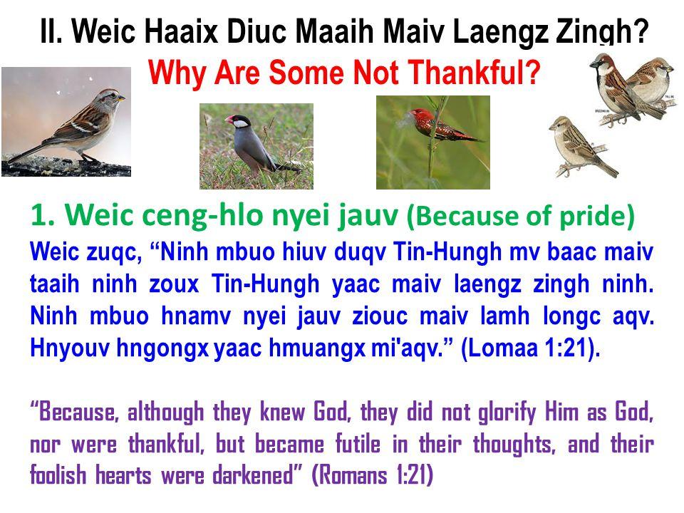"1. Weic ceng-hlo nyei jauv (Because of pride) Weic zuqc, ""Ninh mbuo hiuv duqv Tin-Hungh mv baac maiv taaih ninh zoux Tin-Hungh yaac maiv laengz zingh"