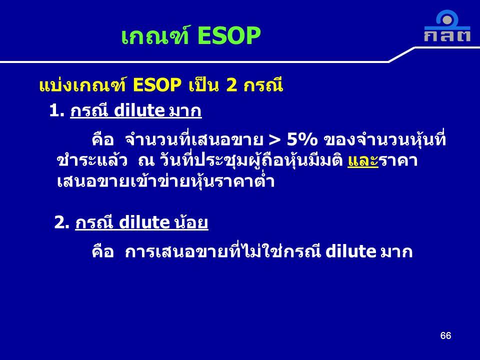เกณฑ์ ESOP แบ่งเกณฑ์ ESOP เป็น 2 กรณี 1.