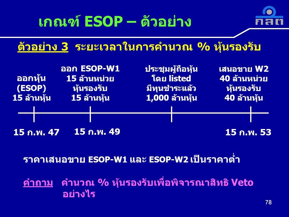 ตัวอย่าง 3 ระยะเวลาในการคำนวณ % หุ้นรองรับ เกณฑ์ ESOP – ตัวอย่าง 78 ออกหุ้น (ESOP) 15 ล้านหุ้น ออก ESOP-W1 15 ล้านหน่วย หุ้นรองรับ 15 ล้านหุ้น ประชุมผู้ถือหุ้น โดย listed มีทุนชำระแล้ว 1,000 ล้านหุ้น เสนอขาย W2 40 ล้านหน่วย หุ้นรองรับ 40 ล้านหุ้น 15 ก.พ.