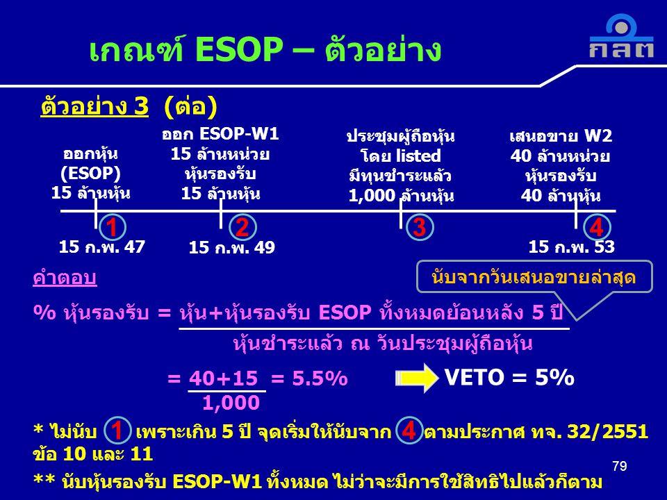 ตัวอย่าง 3 (ต่อ) เกณฑ์ ESOP – ตัวอย่าง 79 ออกหุ้น (ESOP) 15 ล้านหุ้น ออก ESOP-W1 15 ล้านหน่วย หุ้นรองรับ 15 ล้านหุ้น ประชุมผู้ถือหุ้น โดย listed มีทุนชำระแล้ว 1,000 ล้านหุ้น เสนอขาย W2 40 ล้านหน่วย หุ้นรองรับ 40 ล้านหุ้น 15 ก.พ.