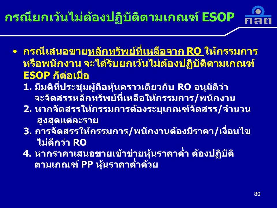 กรณีเสนอขายหลักทรัพย์ที่เหลือจาก RO ให้กรรมการ หรือพนักงาน จะได้รับยกเว้นไม่ต้องปฏิบัติตามเกณฑ์ ESOP ก็ต่อเมื่อ 1.