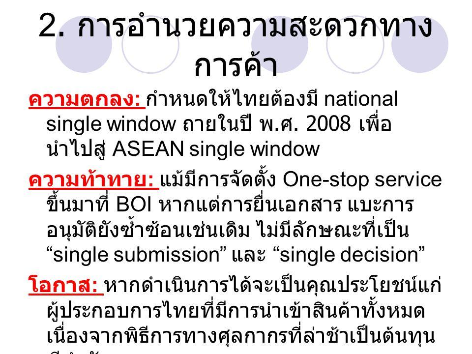 2. การอำนวยความสะดวกทาง การค้า ความตกลง : กำหนดให้ไทยต้องมี national single window ถายในปี พ. ศ. 2008 เพื่อ นำไปสู่ ASEAN single window ความท้าทาย : แ